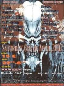 Flyer zur letzten Hardcoremania am 06.04.2002