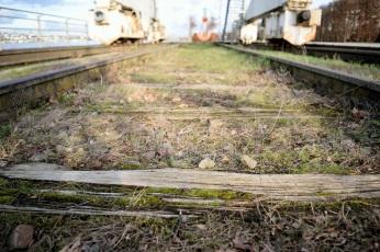 Schienen des alten Industriekrans